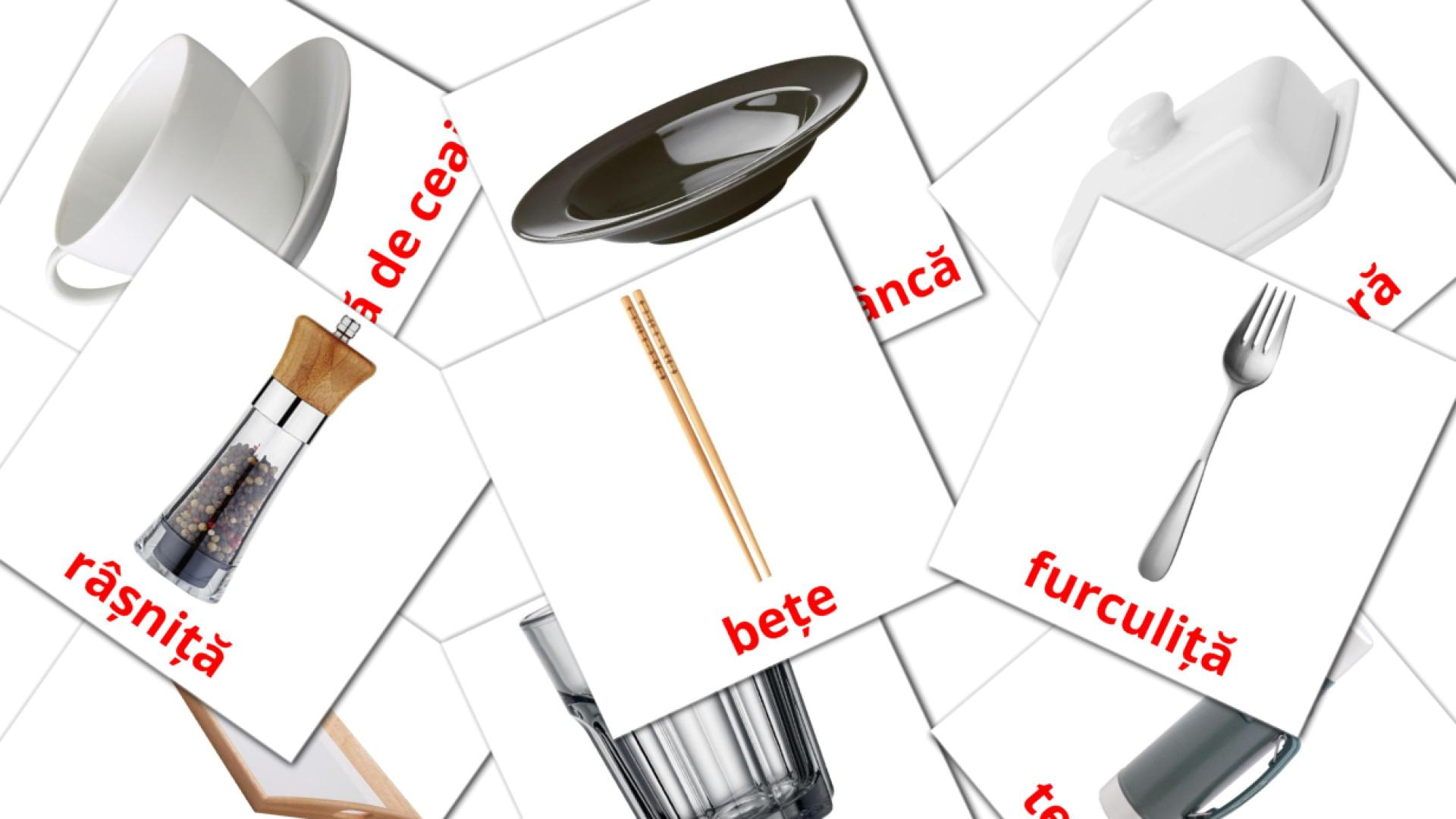 Crockery and cutlery flashcards