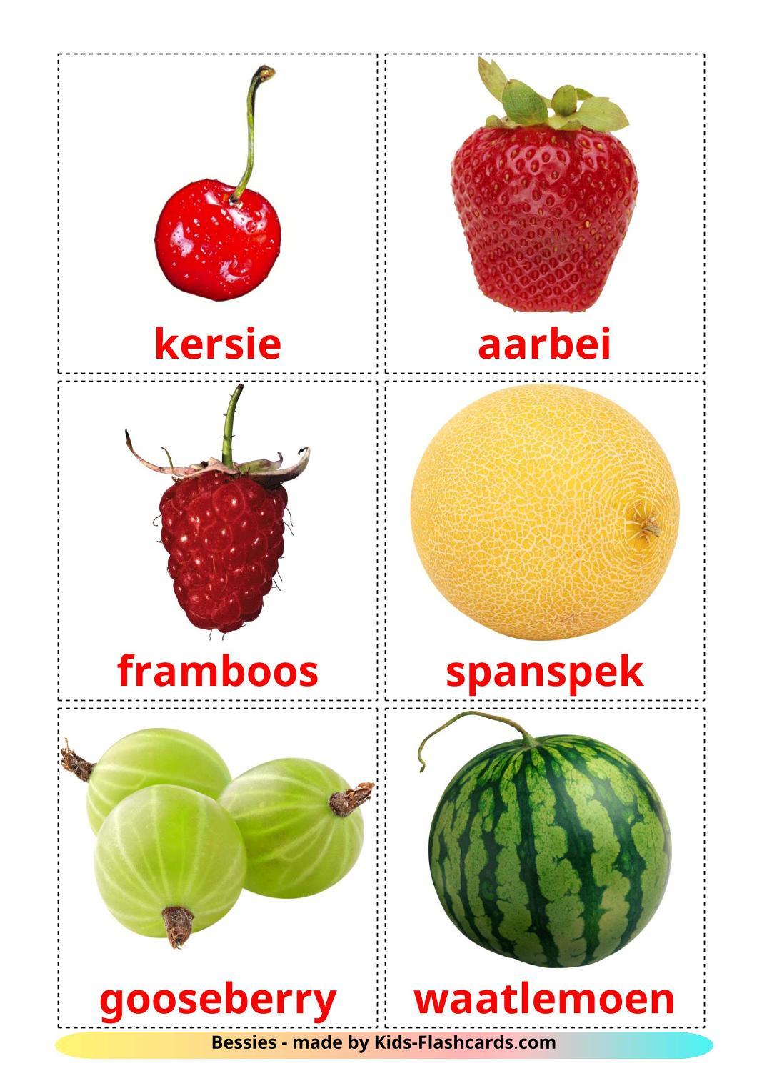 Berries - 11 Free Printable afrikaans Flashcards