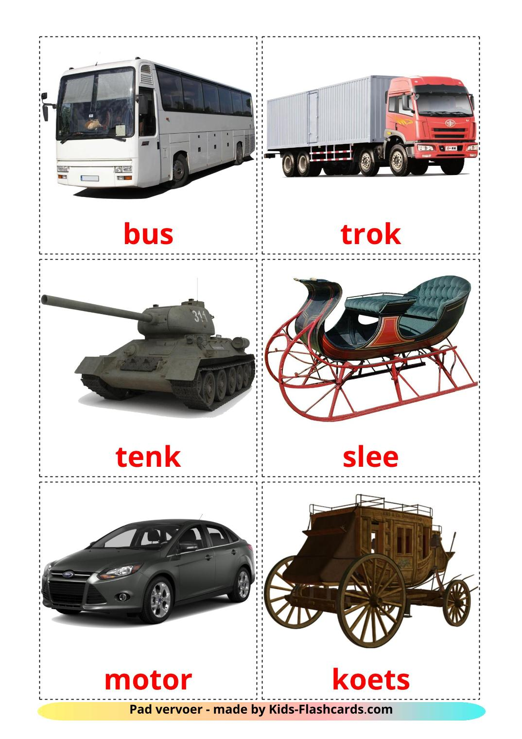 Land transport - 28 Free Printable afrikaans Flashcards