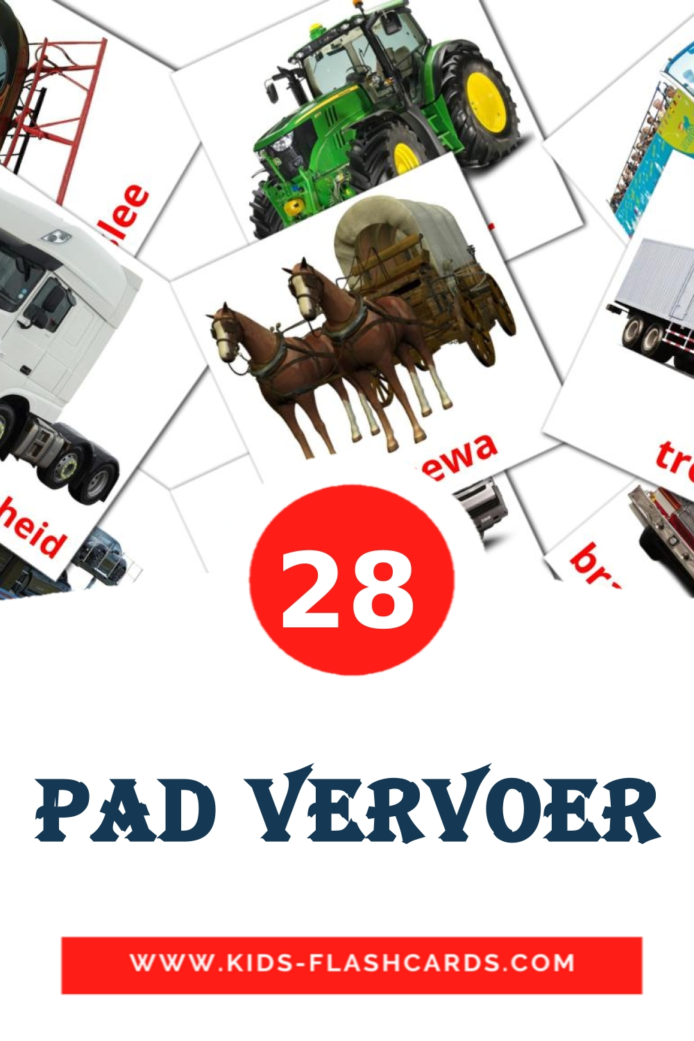 28 Pad vervoer Picture Cards for Kindergarden in afrikaans