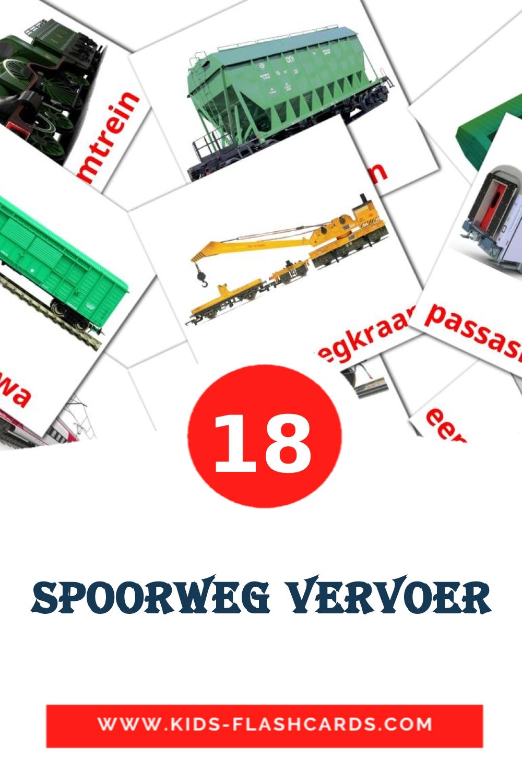 18 Spoorweg vervoer Picture Cards for Kindergarden in afrikaans
