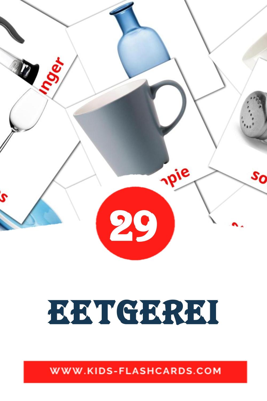 29 Eetgerei Picture Cards for Kindergarden in afrikaans