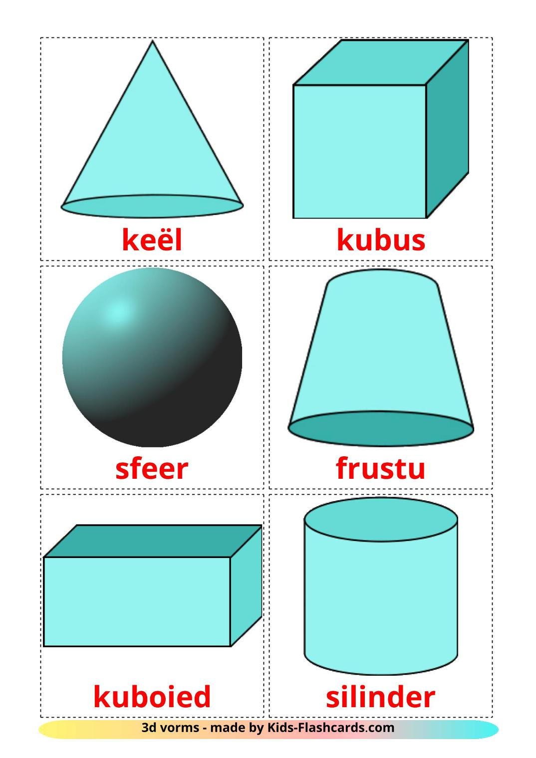 3D Shapes - 17 Free Printable afrikaans Flashcards