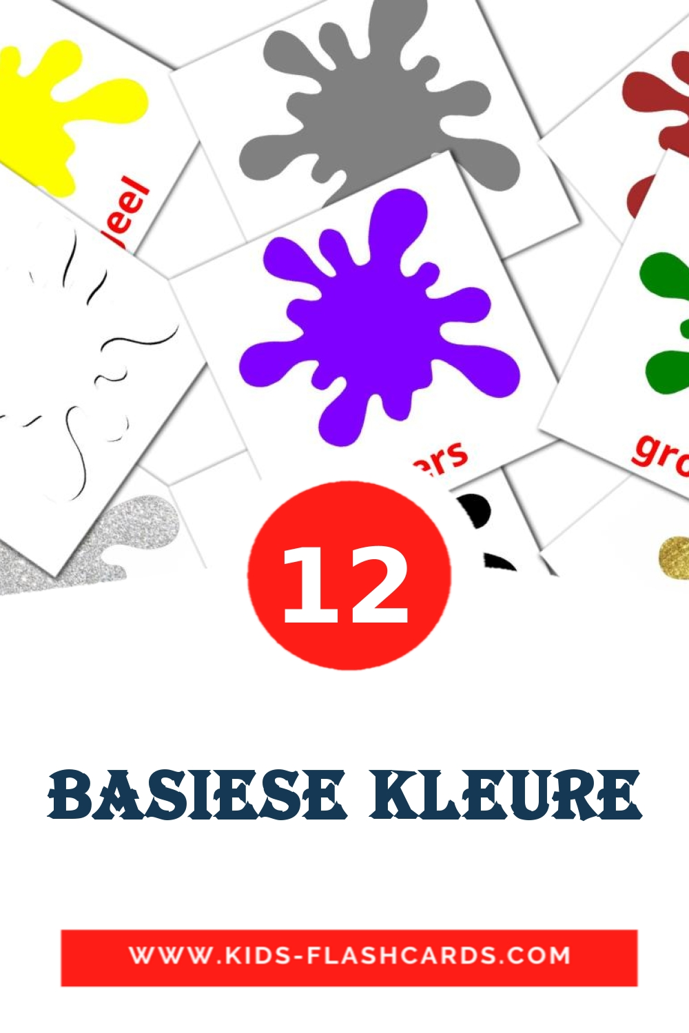 12 Basiese Kleure Picture Cards for Kindergarden in afrikaans