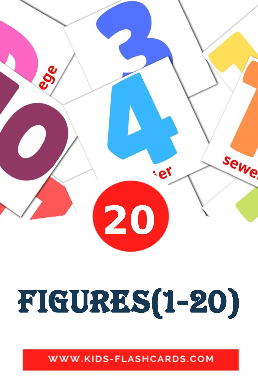 20 Figures(1-20) Picture Cards for Kindergarden in afrikaans