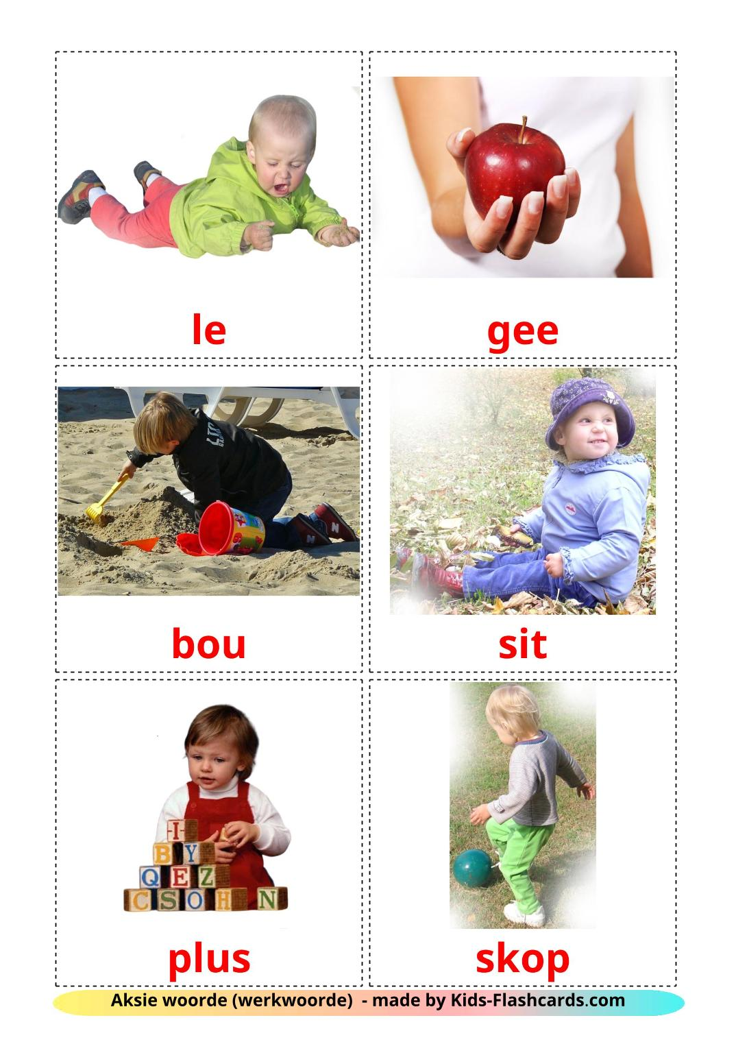 Action verbs - 55 Free Printable afrikaans Flashcards