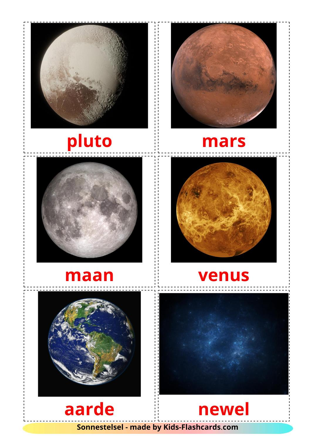Solar System - 20 Free Printable afrikaans Flashcards