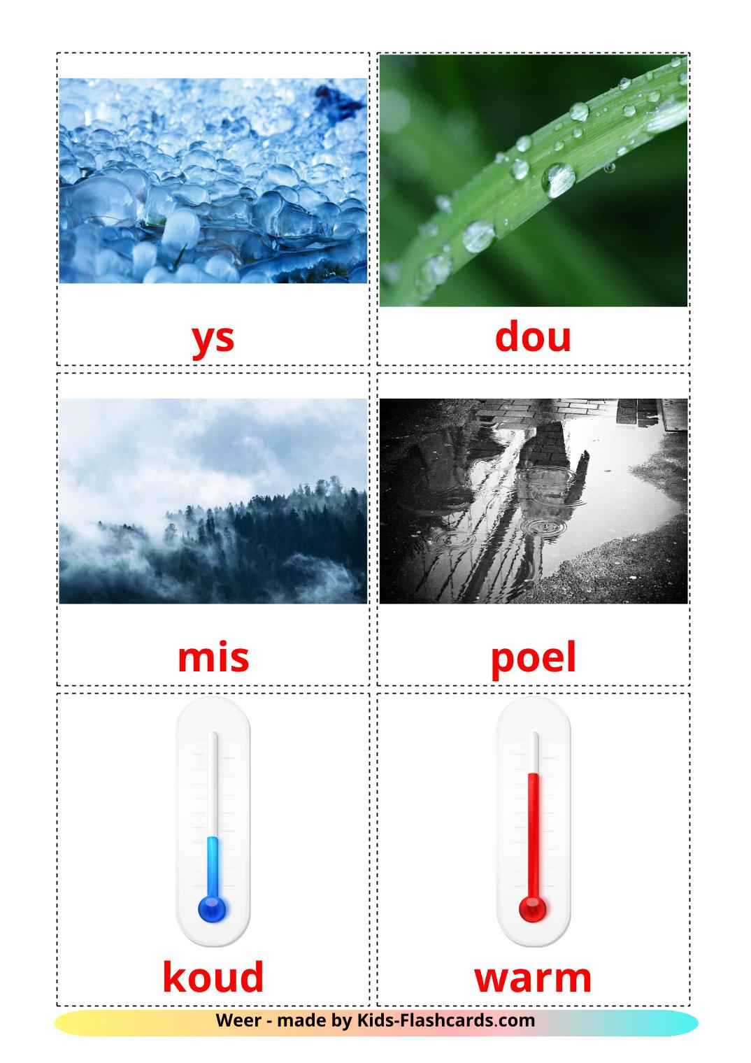 Weather - 31 Free Printable afrikaans Flashcards
