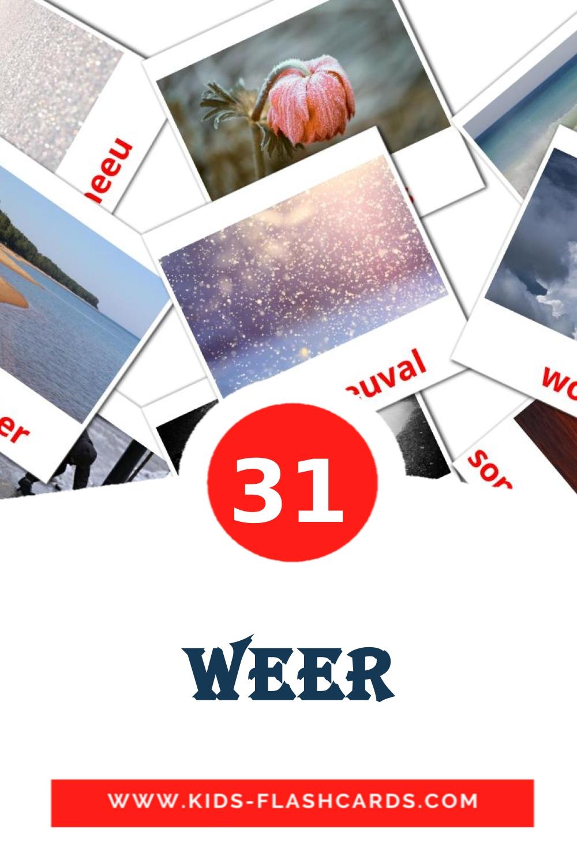 31 Weer Picture Cards for Kindergarden in afrikaans