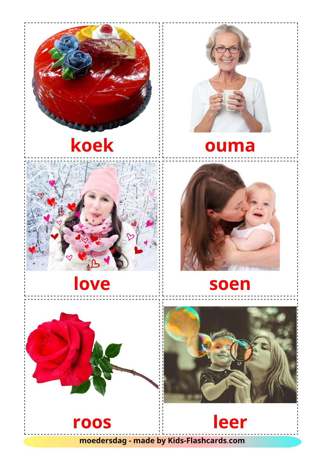 Mother's day - 24 Free Printable afrikaans Flashcards