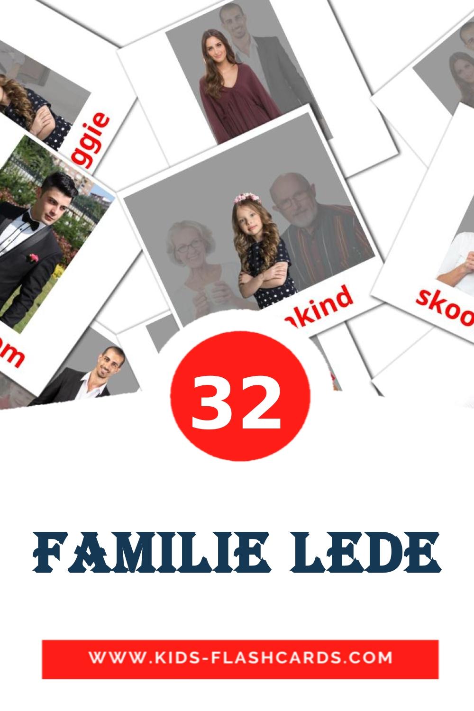 32 Familie lede Picture Cards for Kindergarden in afrikaans