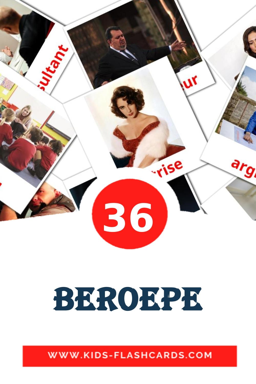 36 Beroepe Picture Cards for Kindergarden in afrikaans