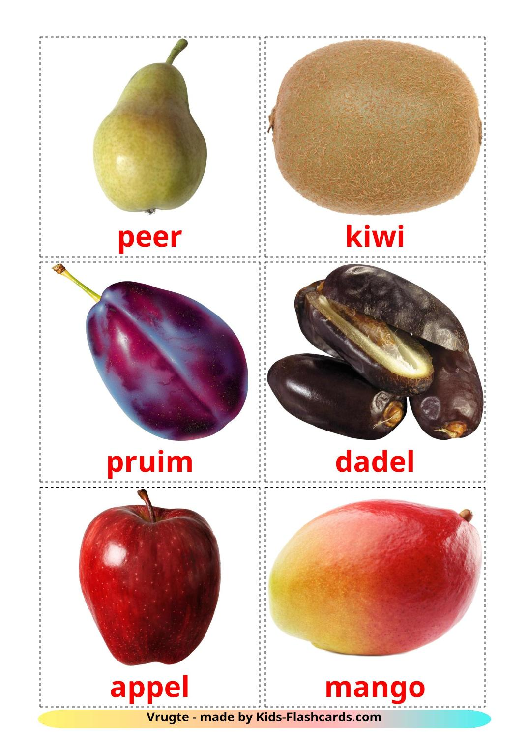 Fruits - 20 Free Printable afrikaans Flashcards