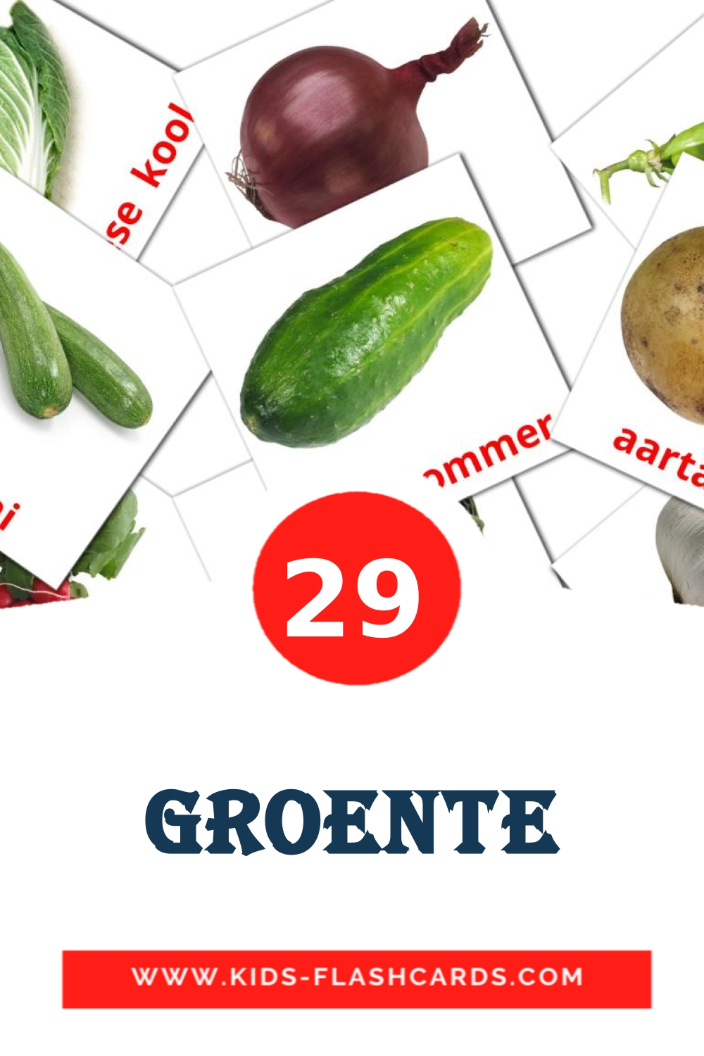 29 Groente Picture Cards for Kindergarden in afrikaans