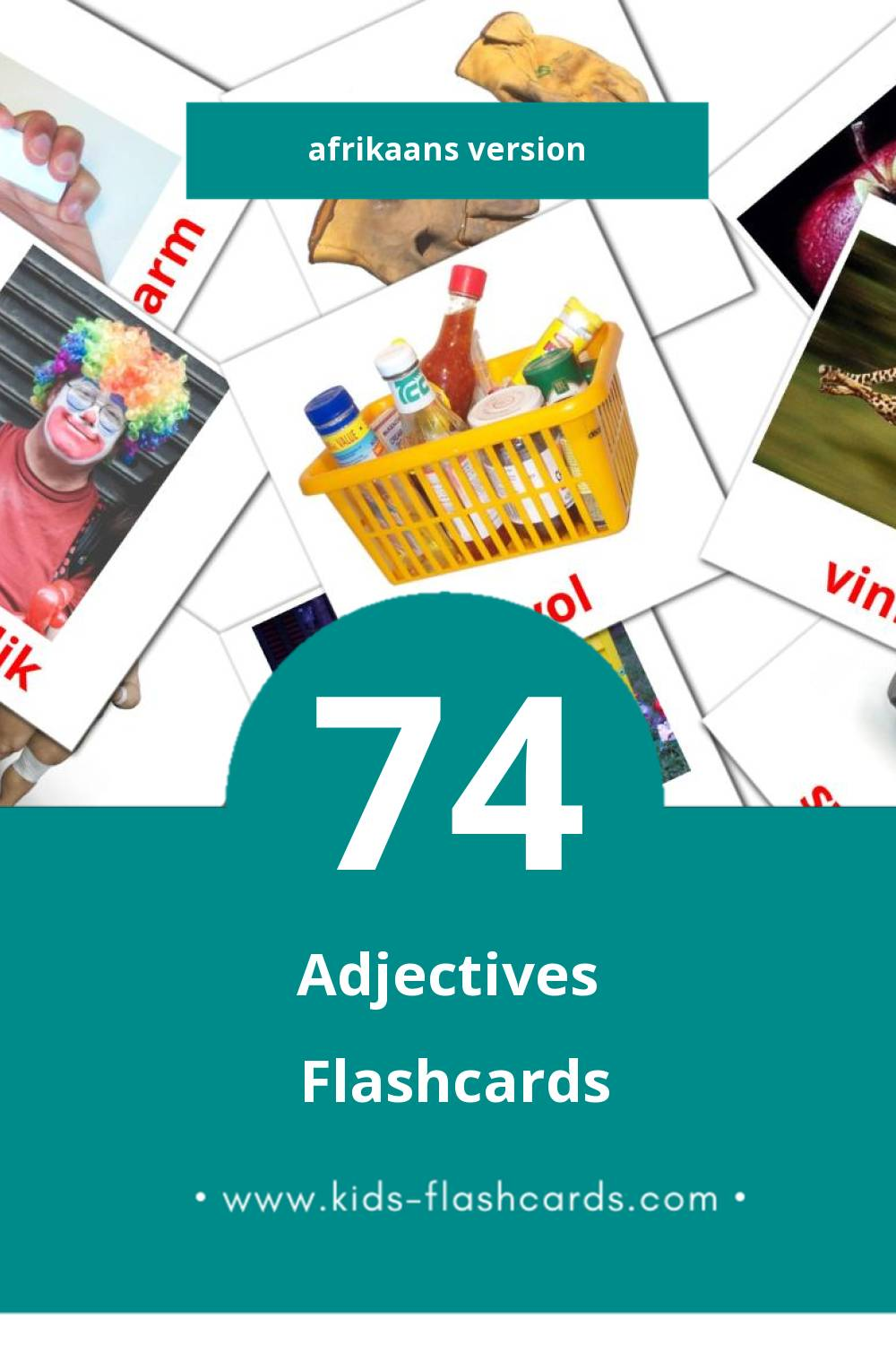 Visual Byvoeglike naamwoorde Flashcards for Toddlers (74 cards in Afrikaans)