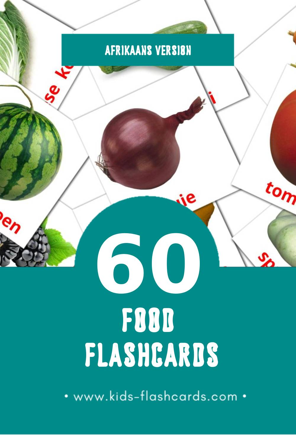 Visual Kos Flashcards for Toddlers (60 cards in Afrikaans)