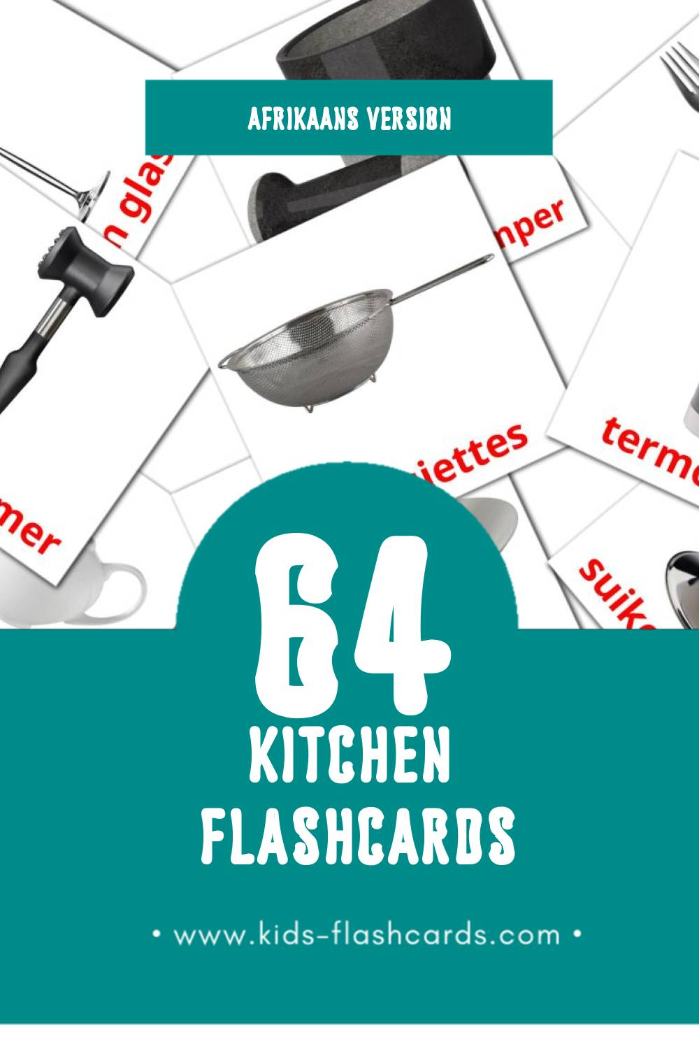 Visual Chin Flashcards for Toddlers (29 cards in Afrikaans)