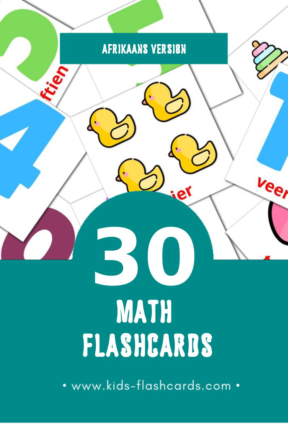 Visual Wiskunde Flashcards for Toddlers (30 cards in Afrikaans)