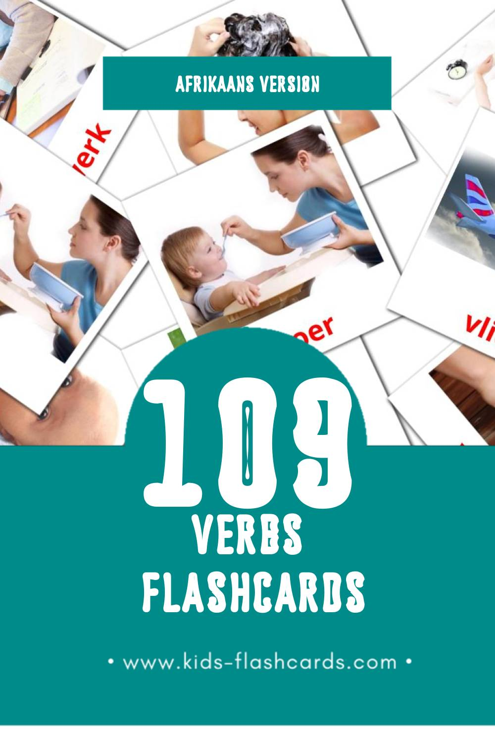Visual Foljet Flashcards for Toddlers (55 cards in Afrikaans)