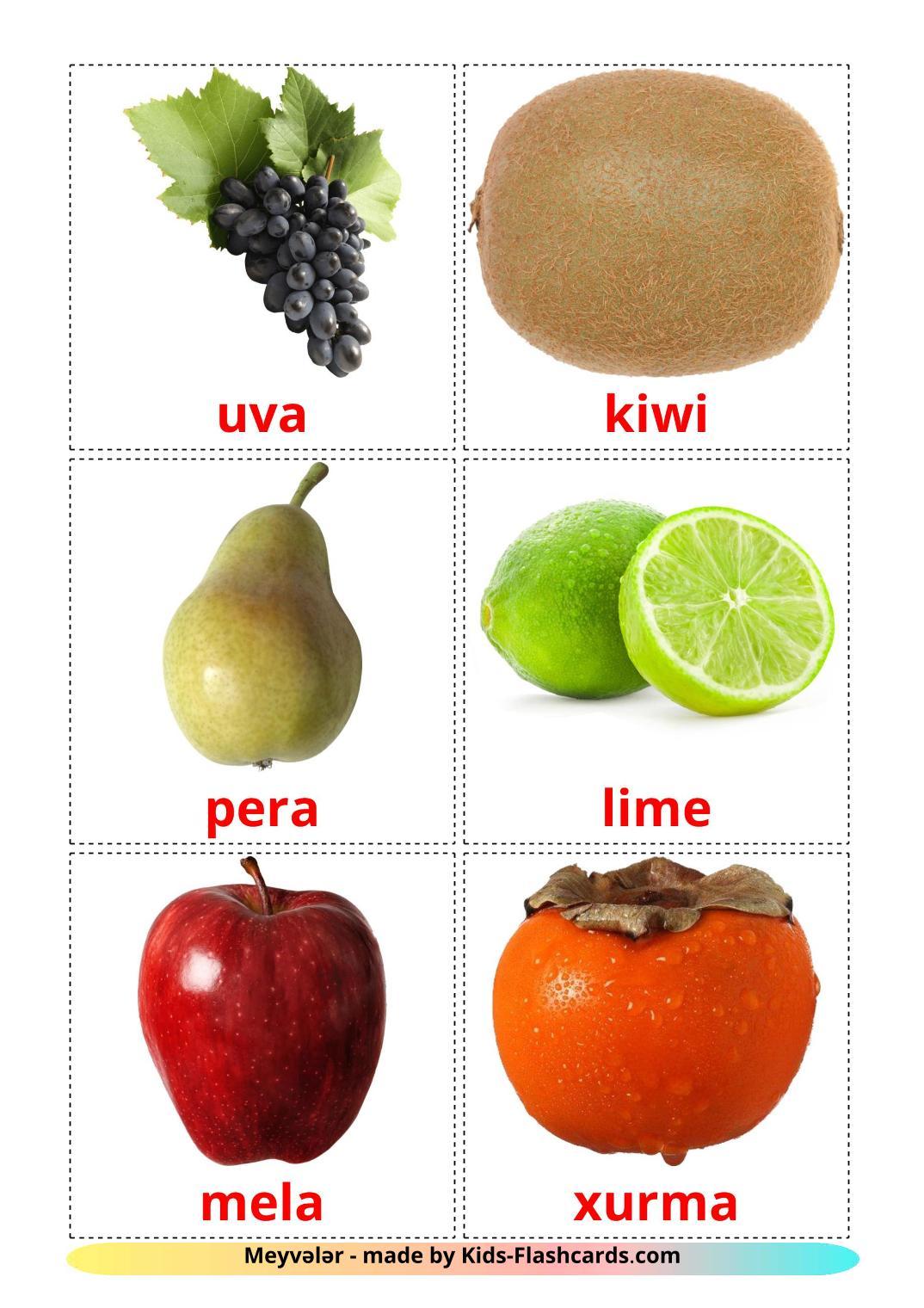 Fruits - 20 Free Printable azerbaijani(cyrillic) Flashcards