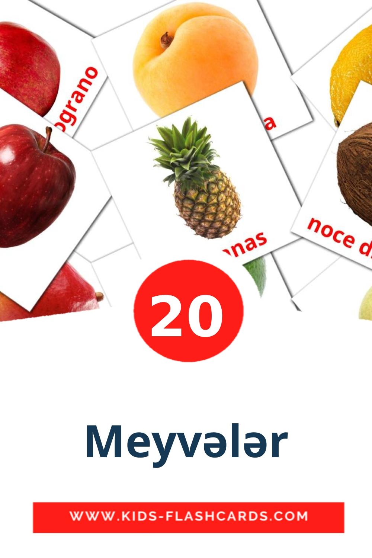 20 Meyvələr Picture Cards for Kindergarden in azerbaijani(cyrillic)