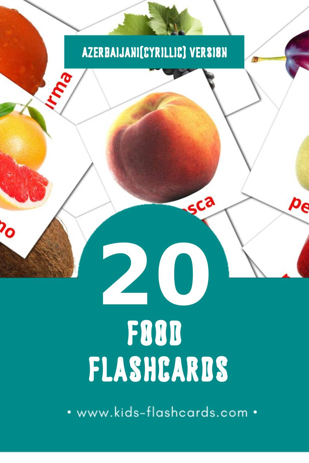 Visual món Flashcards for Toddlers (20 cards in Azerbaijani(cyrillic))