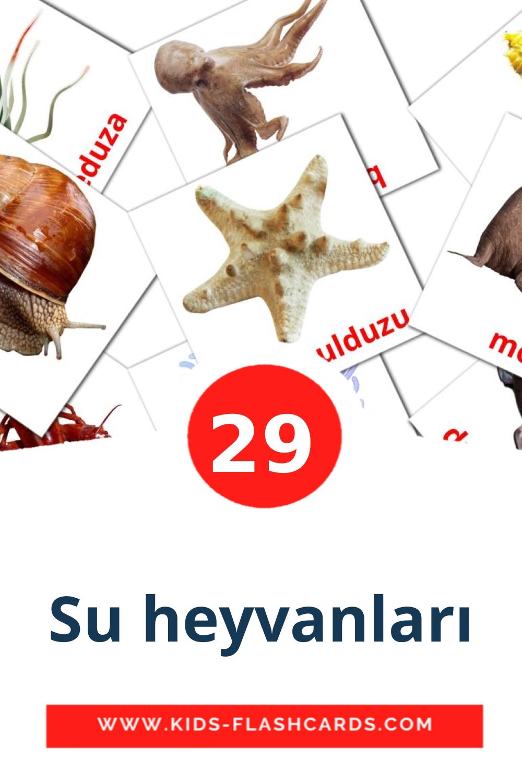 29 Su heyvanları Picture Cards for Kindergarden in azerbaijani