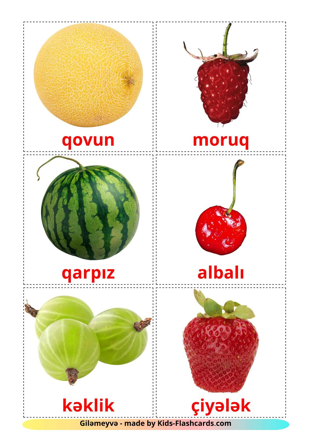Berries - 11 Free Printable azerbaijani Flashcards