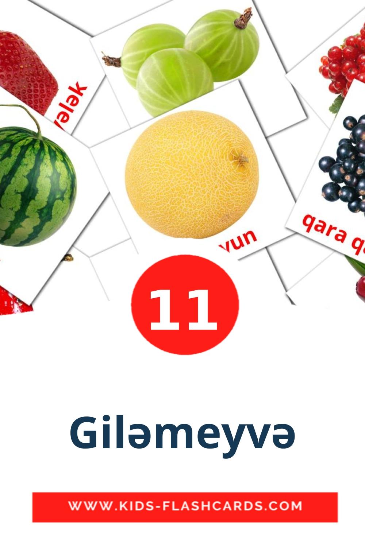 11 Giləmeyvə Picture Cards for Kindergarden in azerbaijani