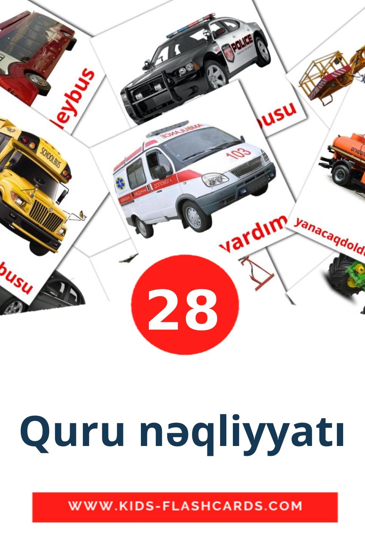 28 Quru nəqliyyatı Picture Cards for Kindergarden in azerbaijani