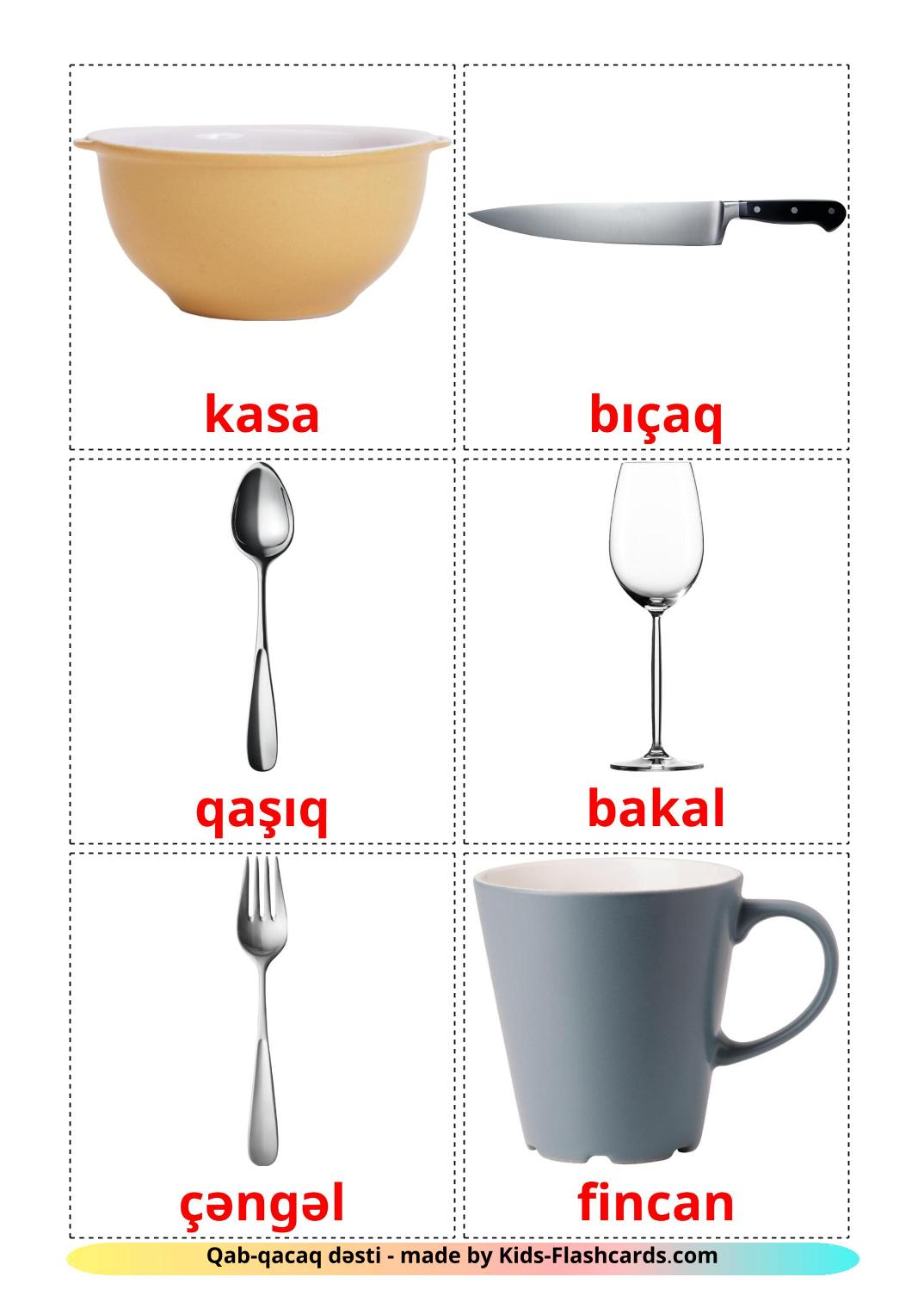Crockery and cutlery - 29 Free Printable azerbaijani Flashcards