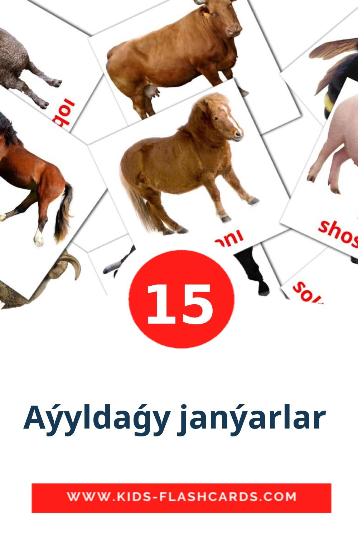 15 Aýyldaǵy janýarlar  Picture Cards for Kindergarden in azerbaijani