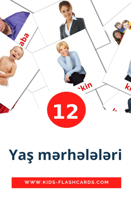 12 Yaş mərhələləri Picture Cards for Kindergarden in azerbaijani