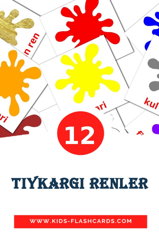 12 Tiykargi renler Picture Cards for Kindergarden in azerbaijani