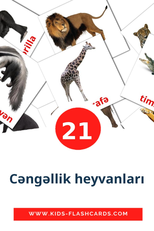 21 Cəngəllik heyvanları Picture Cards for Kindergarden in azerbaijani