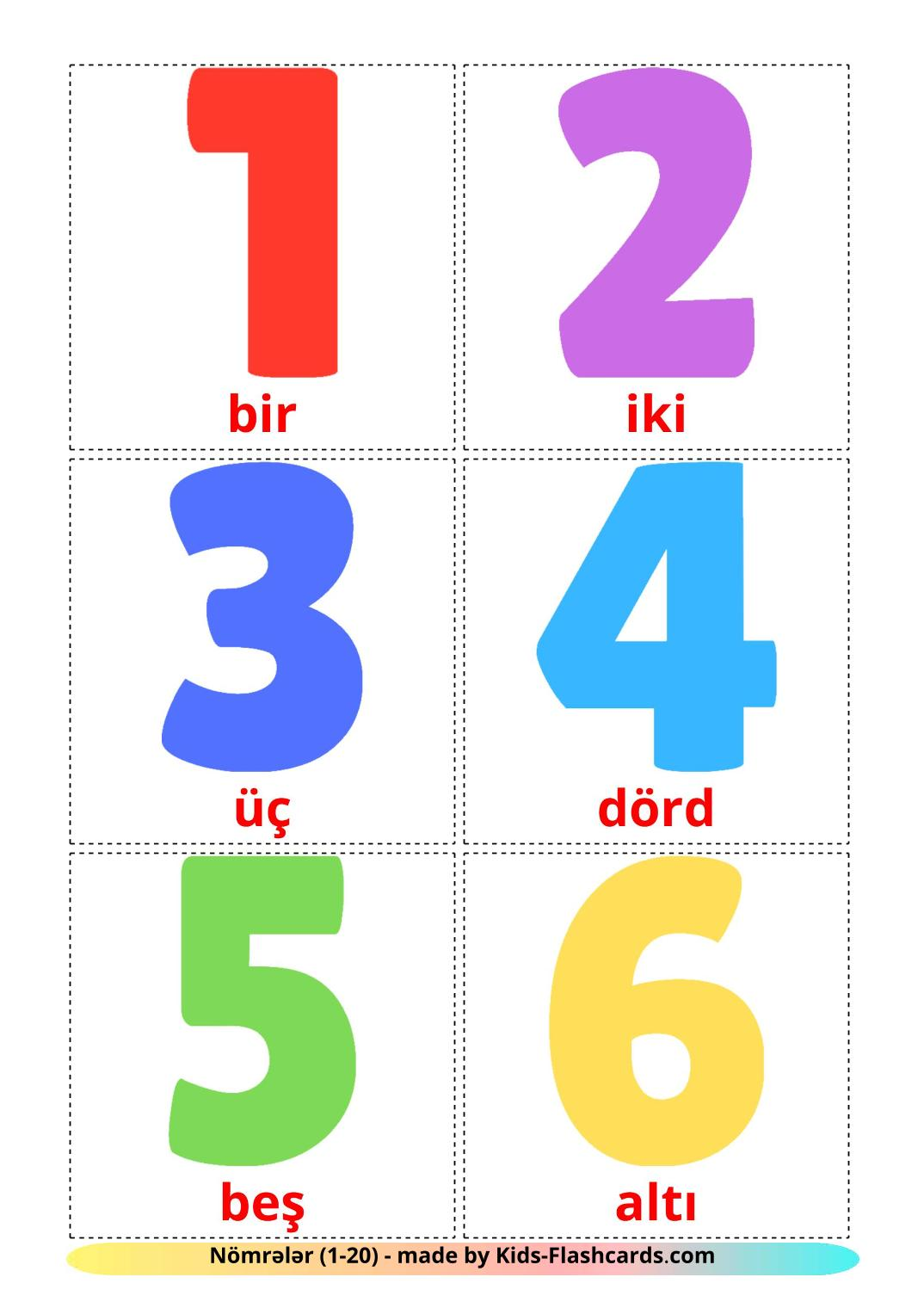 Numbers (1-20) - 20 Free Printable azerbaijani Flashcards