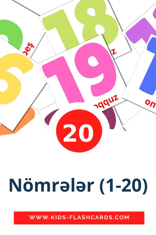 20 Nömrələr (1-20) Picture Cards for Kindergarden in azerbaijani