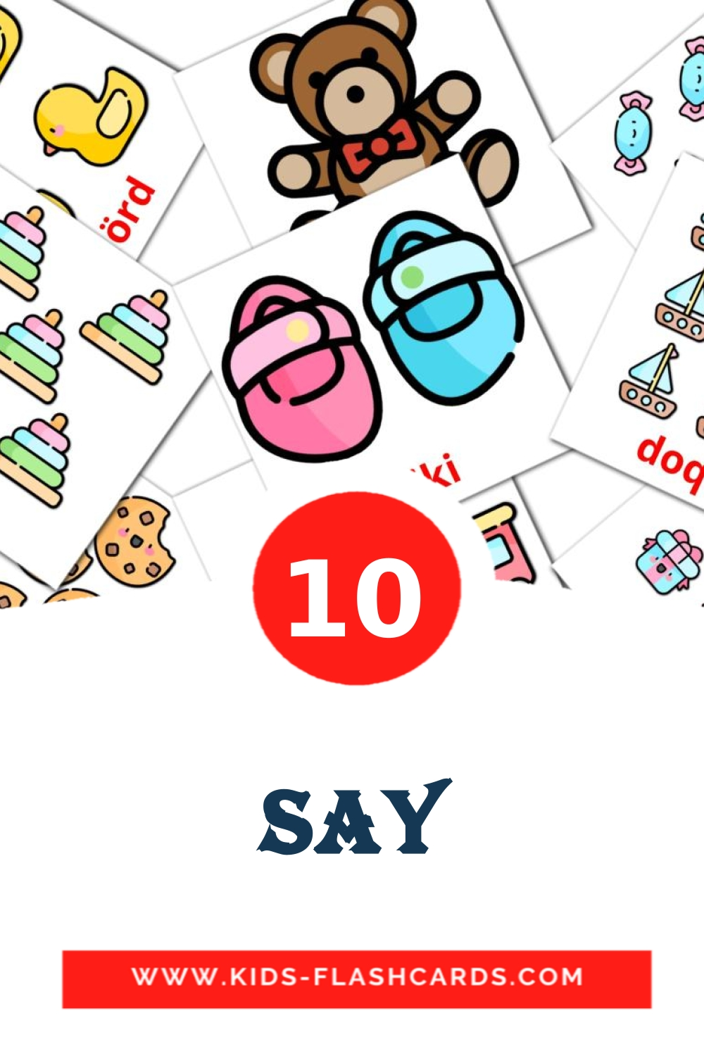 10 say Picture Cards for Kindergarden in azerbaijani
