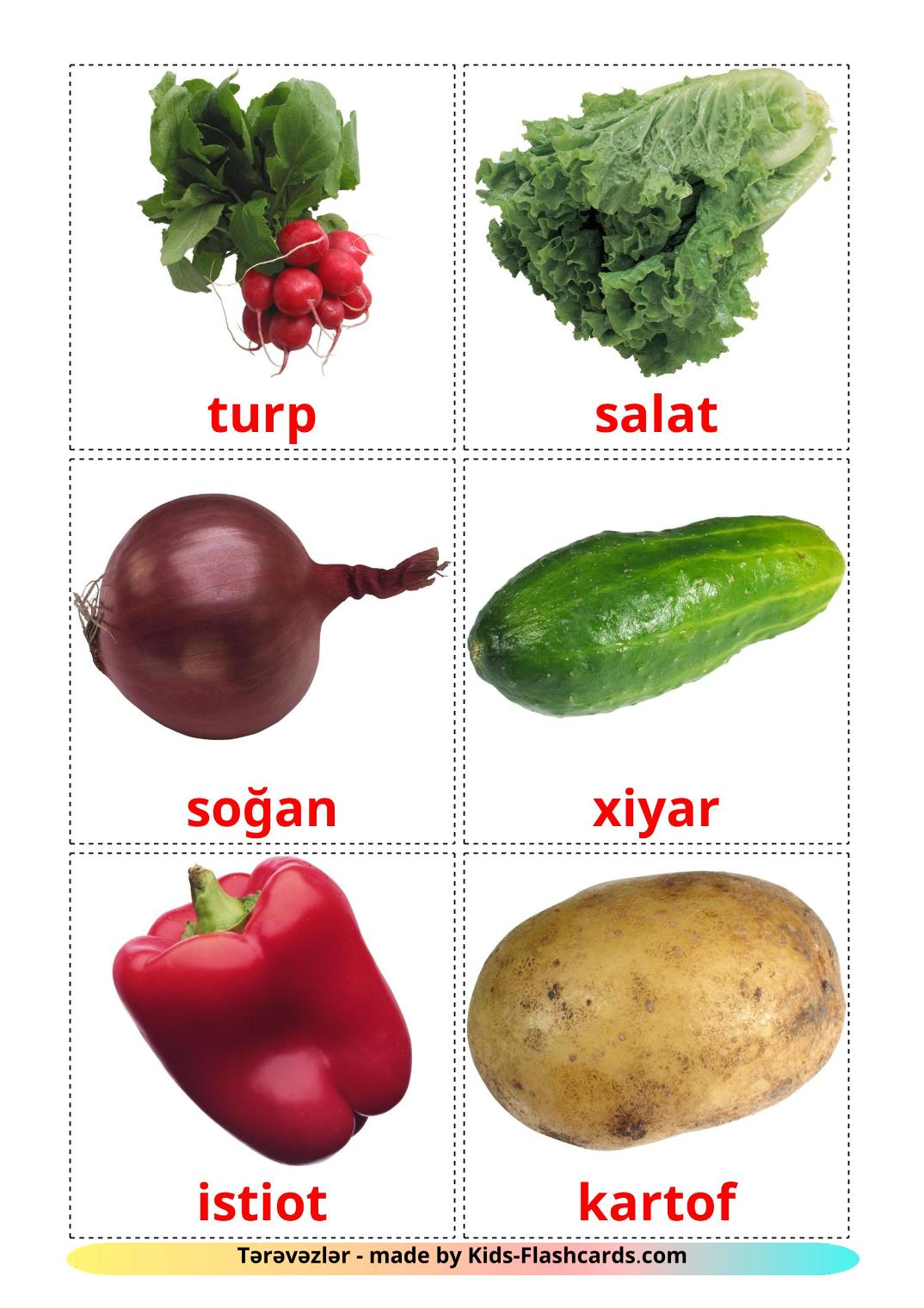Vegetables - 29 Free Printable azerbaijani Flashcards
