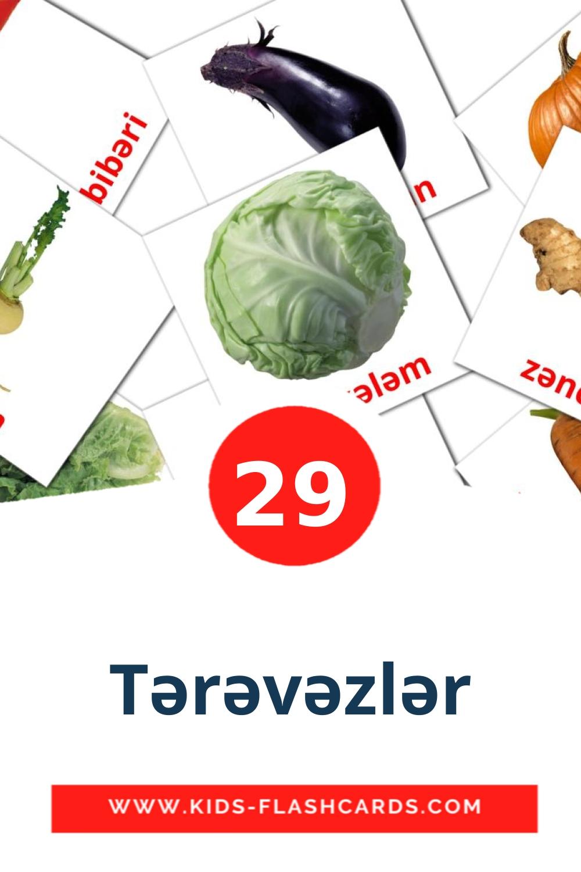 29 Tərəvəzlər Picture Cards for Kindergarden in azerbaijani