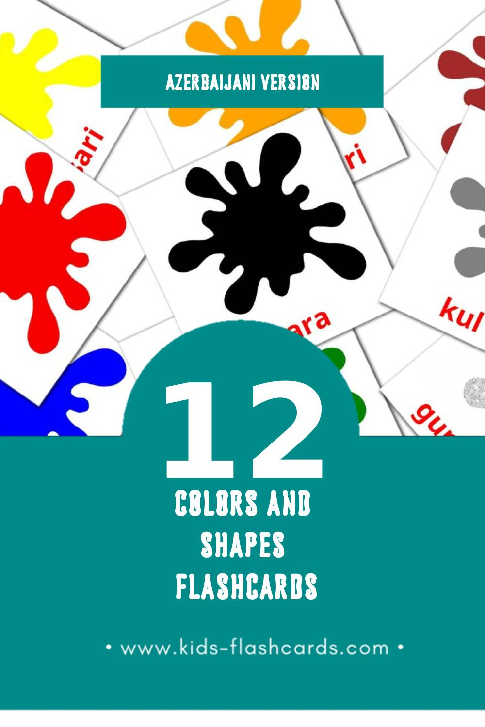 Visual красныи Flashcards for Toddlers (12 cards in Azerbaijani)