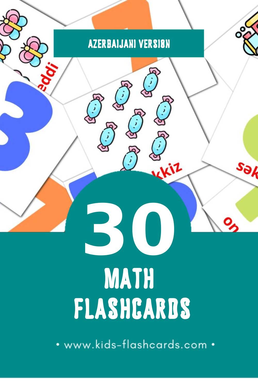 Visual riyaziyyat Flashcards for Toddlers (30 cards in Azerbaijani)