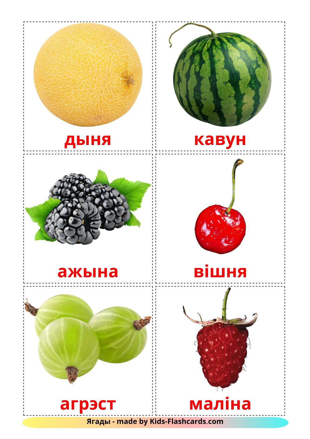Berries - 11 Free Printable belarusian Flashcards