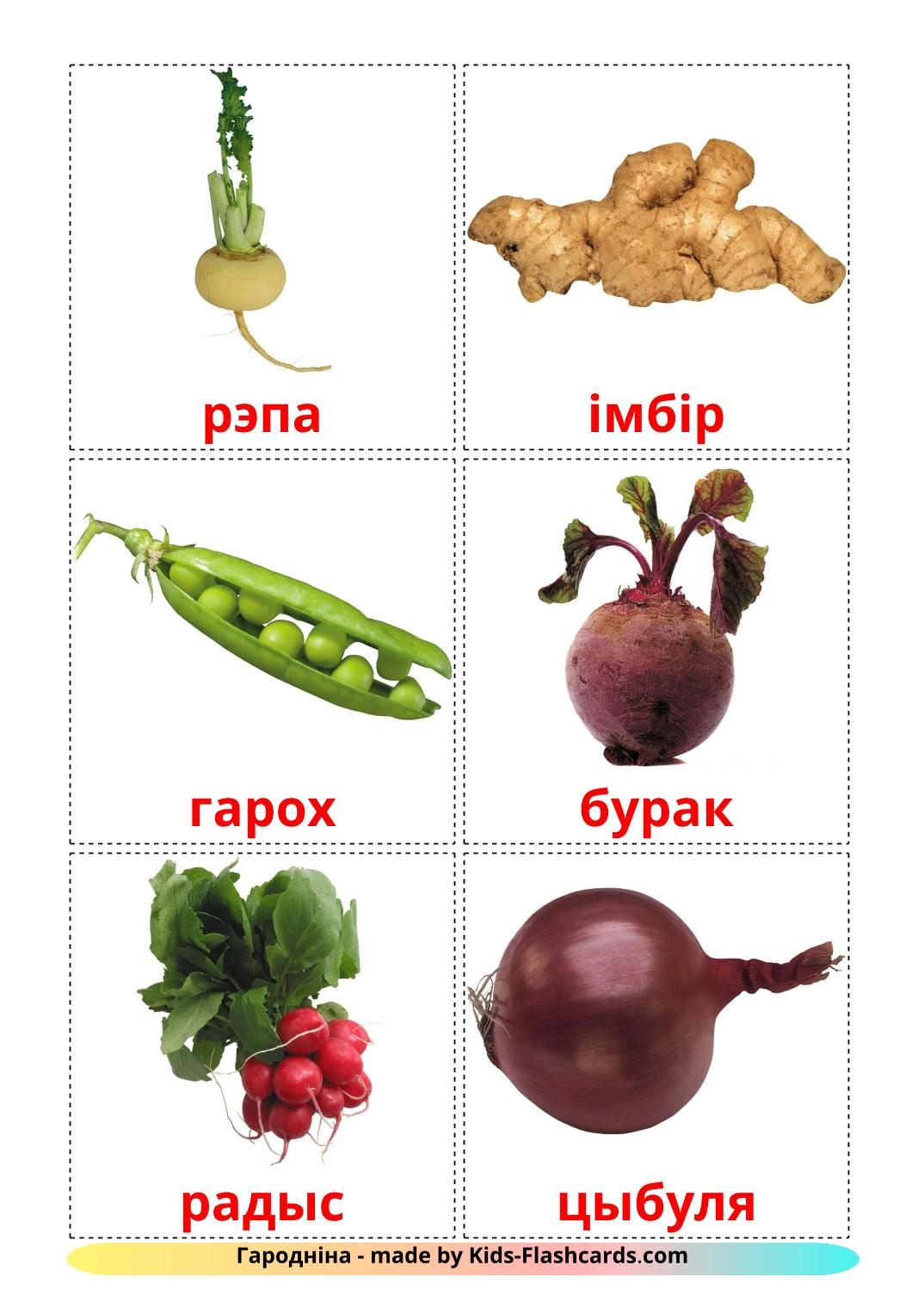 Vegetables - 29 Free Printable belarusian Flashcards