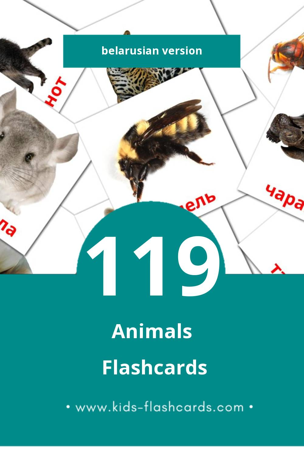 Visual Djur Flashcards for Toddlers (31 cards in Belarusian)