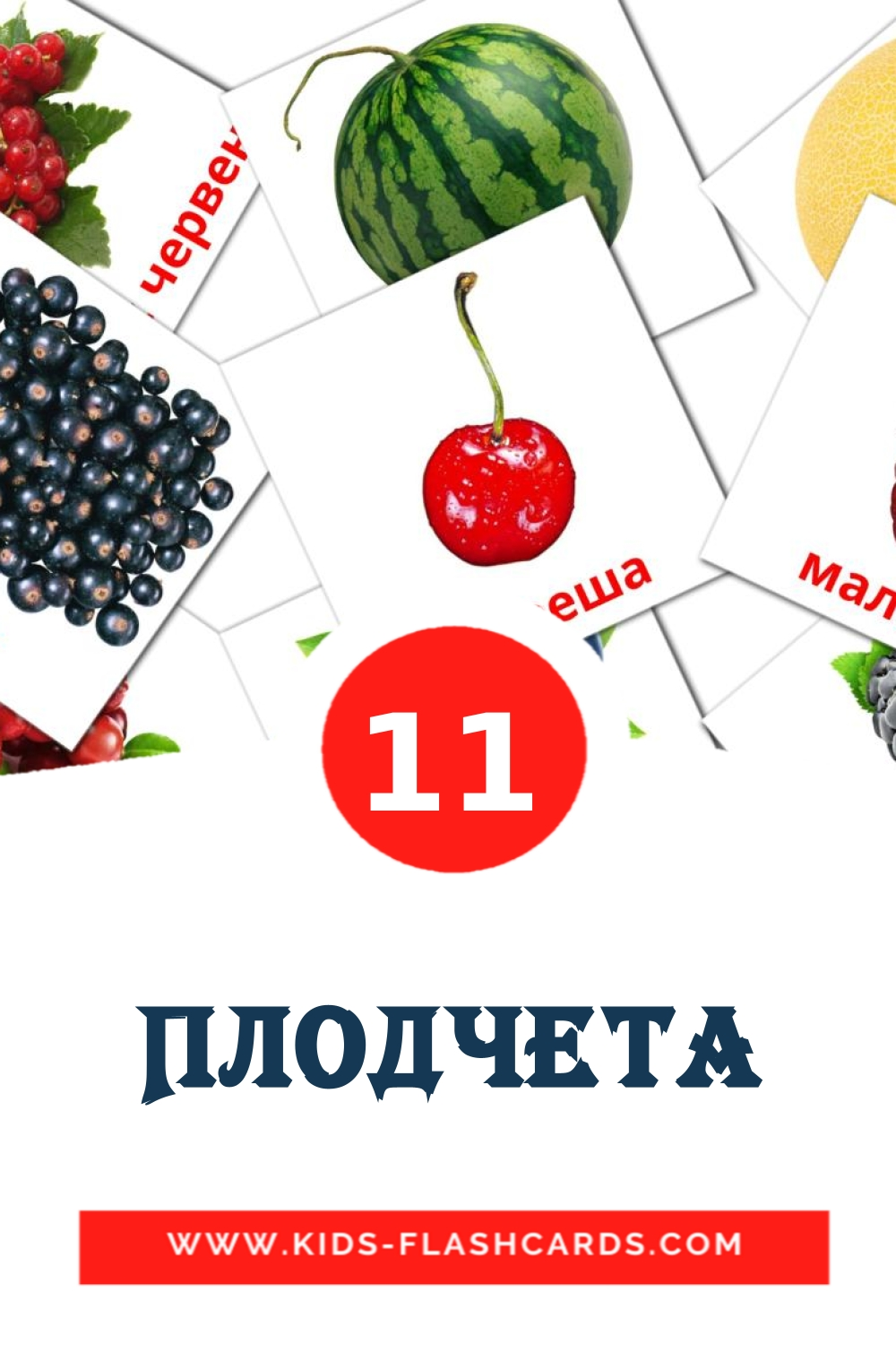 11 Плодчета Picture Cards for Kindergarden in bulgarian