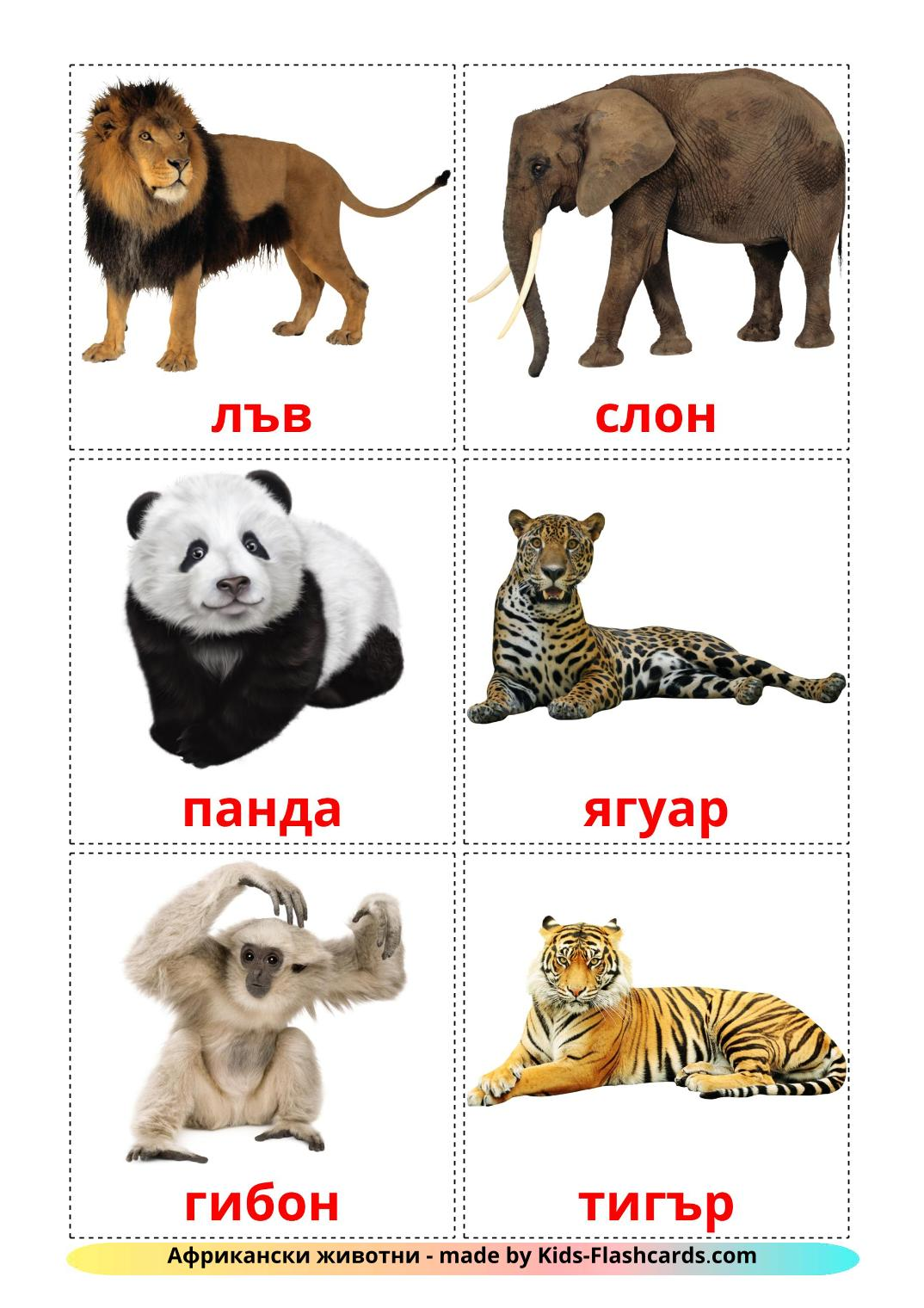 Jungle animals - 21 Free Printable bulgarian Flashcards