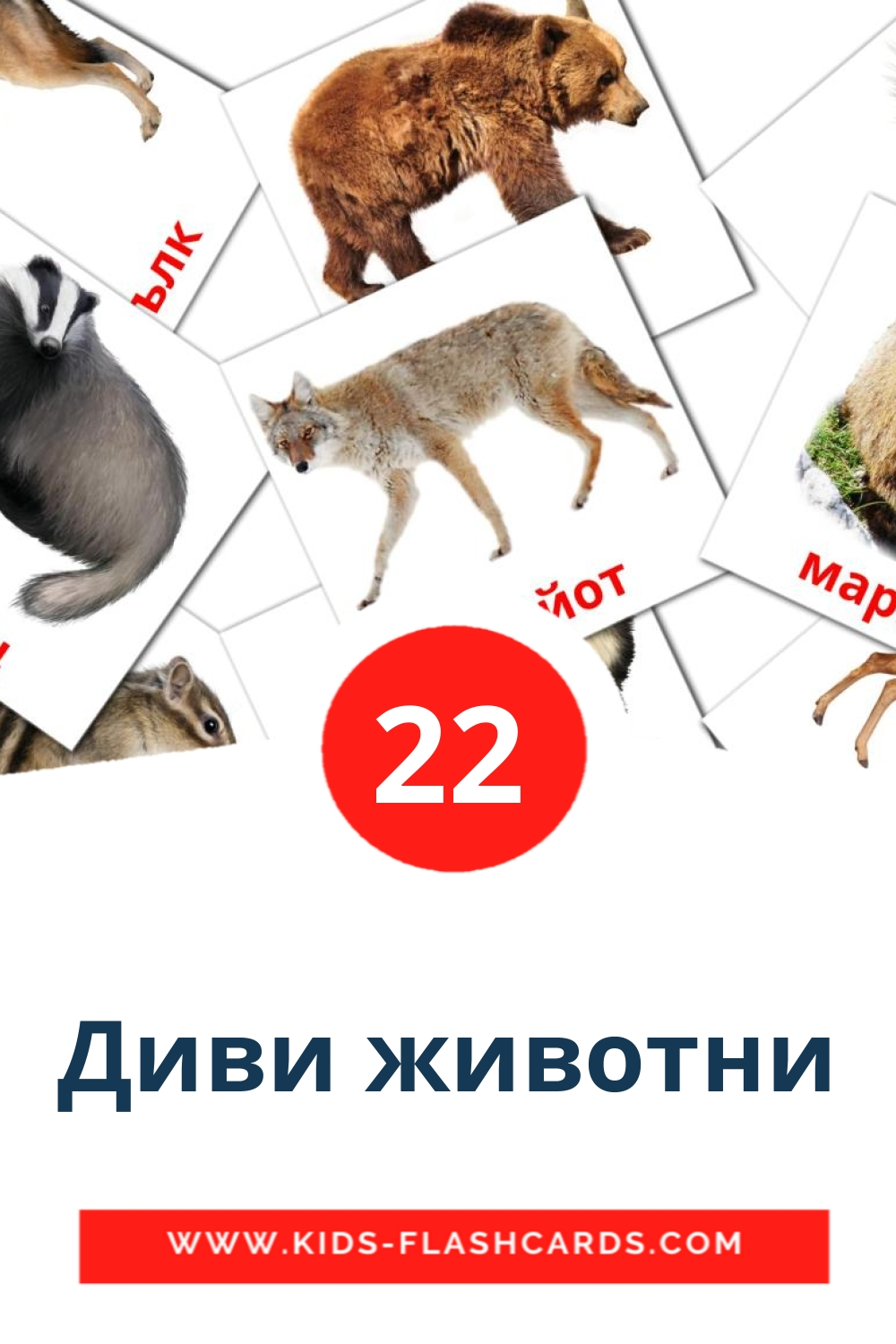 22 Диви животни Picture Cards for Kindergarden in bulgarian