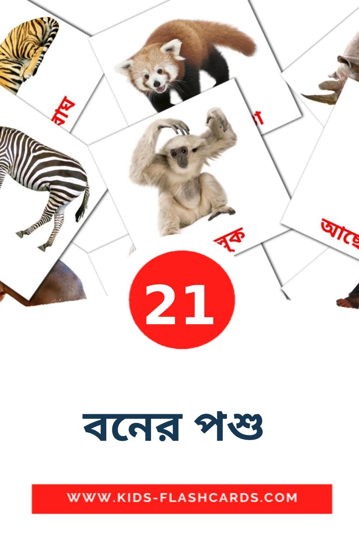 21 বনের পশু  Picture Cards for Kindergarden in bengali