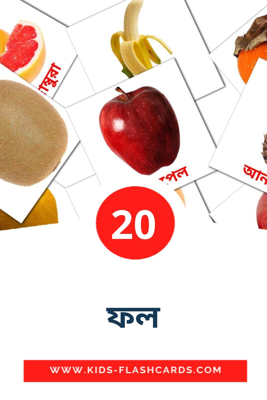 20 ফল Picture Cards for Kindergarden in bengali
